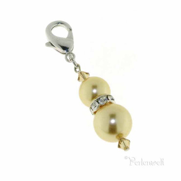 Charm Perle Strassrondell Gold