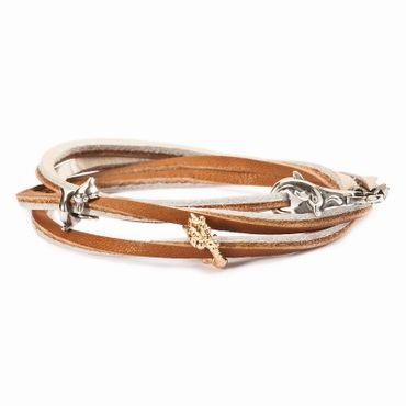 Armband: Leder-Armband, braun-beige, 45cm