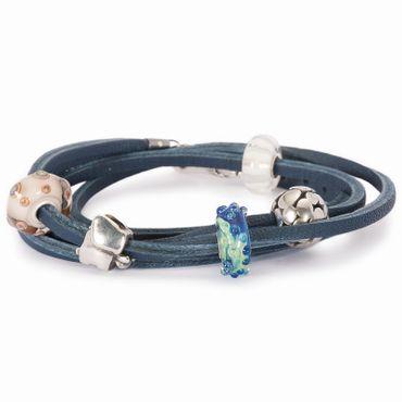 Armband: Lederarmband, blau, 36 cm