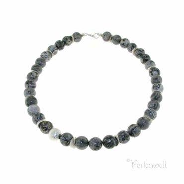 Halskette mit Jaspis, 925 Silberkugeln