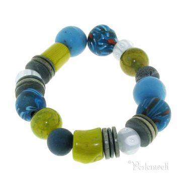Armband petrol-türkis-kiwigrün mit Koralle, Achat, Glas, Kokos
