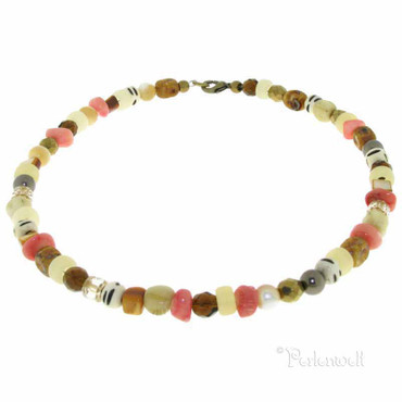 Halskette Zarte Kette im naturfarbenen Afrikadesign
