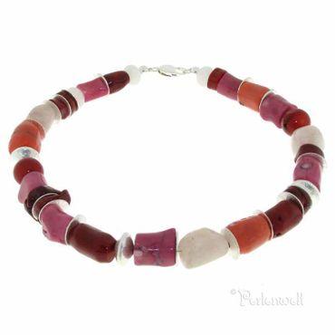 Halskette  lachs-rosa-rote Korallenkette