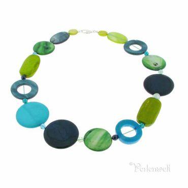 Halskette Perlmutt blau-grün