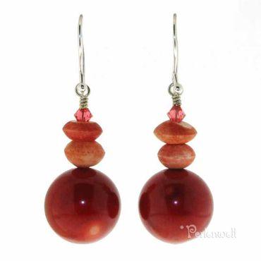 Ohrringe in Rot mit Koralle, Swarovski-Kristall und Bonebeads