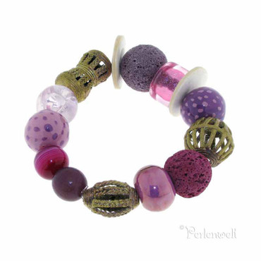 Armband lila-pink-messing im Materialmix