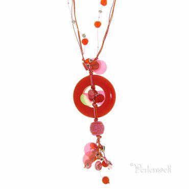 Halskette lang in Rot-Orange-Pink-Tönen