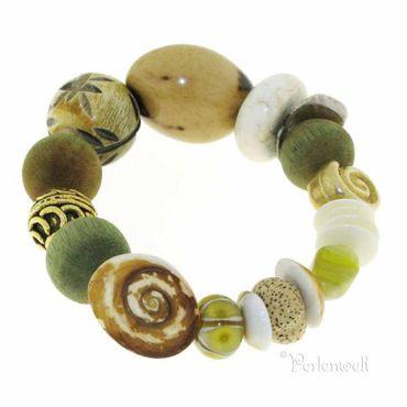 Armband Naturmaterialien in beige-grün-creme