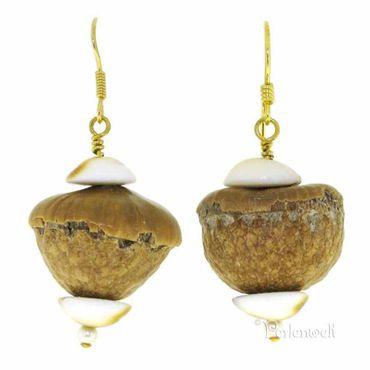 Ohrschmuck Nüsse und Muscheln natur