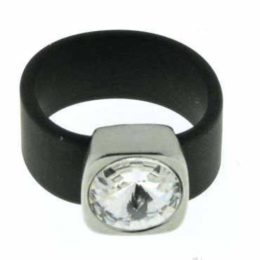 Belt Ring 12 mm Crystal/schwarz