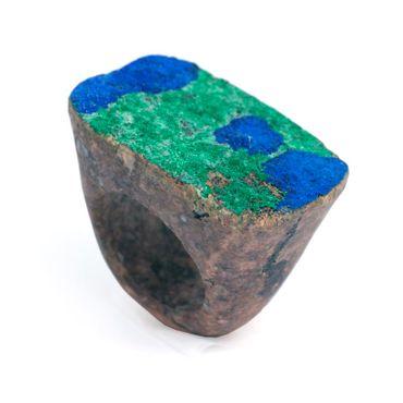 Ring Azurit-Malachit ca. Gr. 57 KM006