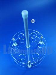 Reagenzglasgestell (SCHWEFELFADEN ®) Acrylglasständer rund für 6 Reagenzgläser bis 16 mm Durchmesser – Bild 1