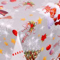 WACHSTUCH TISCHDECKE Abwaschbar Meterware - Glatt, Weihnachten Schneemann - Silber – Bild 1