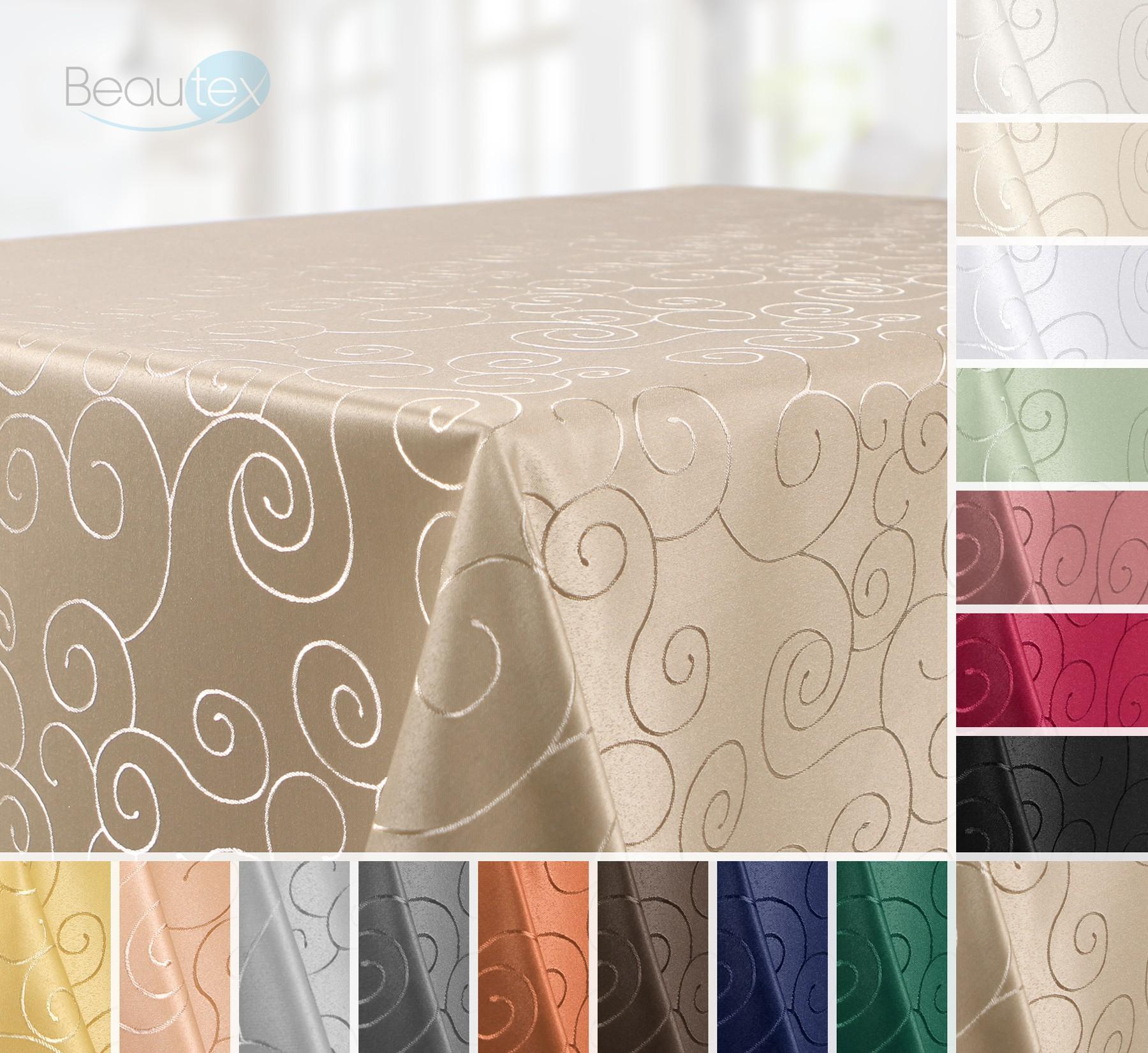 tischdecke ornamente kreise motiv bronze damast stoff gr e und farbe w hlbar kollektionen. Black Bedroom Furniture Sets. Home Design Ideas