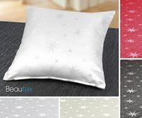 Lurex Sterne Kissenhülle 2 Stück, Gold, Silber, Grau, Rot glänzend, Größe wählbar – Bild 1