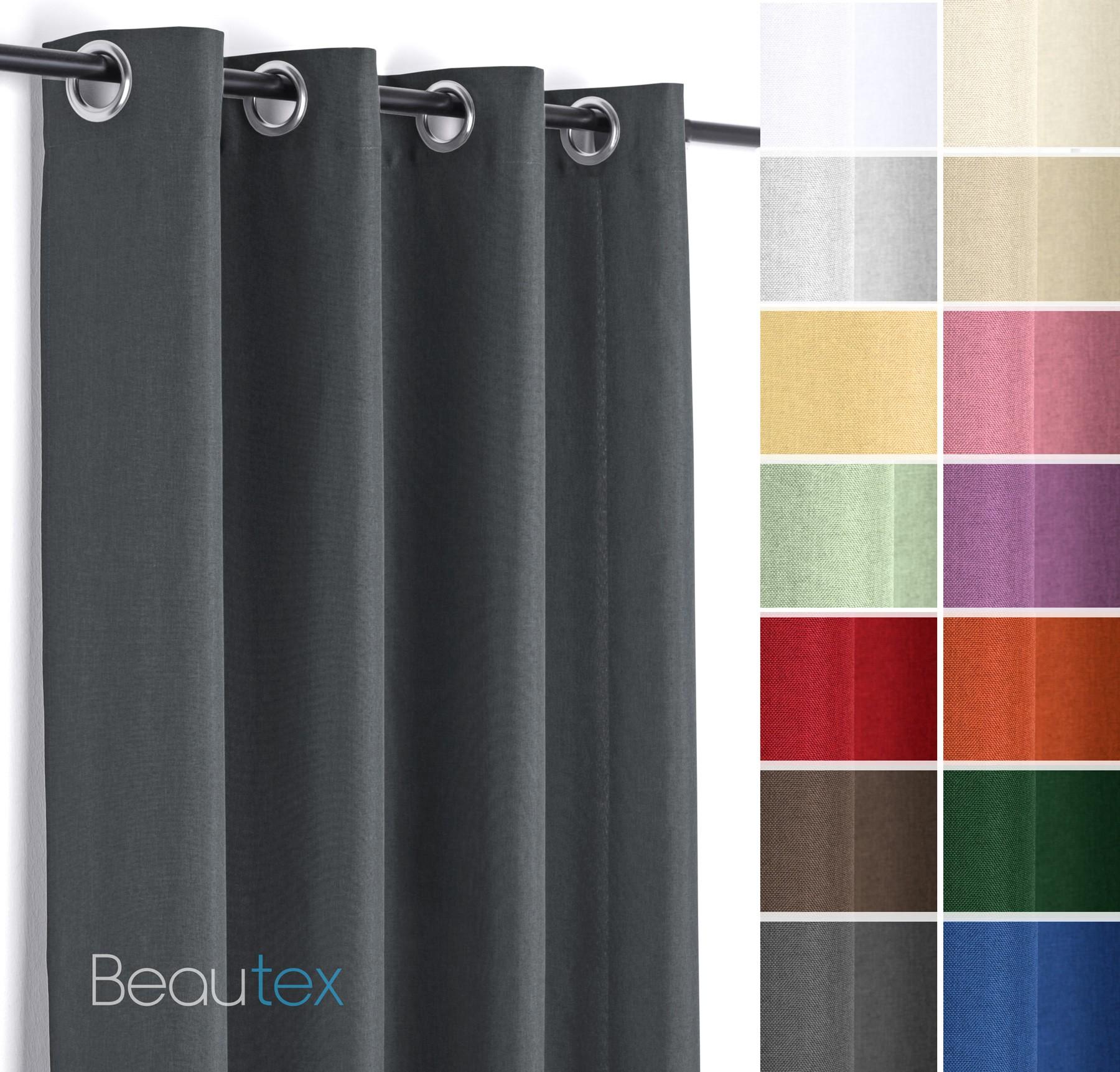 Gardinen Ösen leinen optik brilliant Ösenvorhang, gardine mit Ösen 140x245 cm