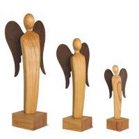 Engel Skulptur aus Holz feingeschliffen, Stahl Flügel Deko Holzfiguren, Größe wählbar – Bild 1