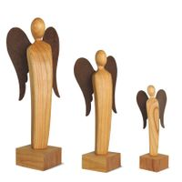 Engel Skulptur aus Holz feingeschliffen, Stahl Flügel Deko Holzfiguren, Größe wählbar – Bild 5