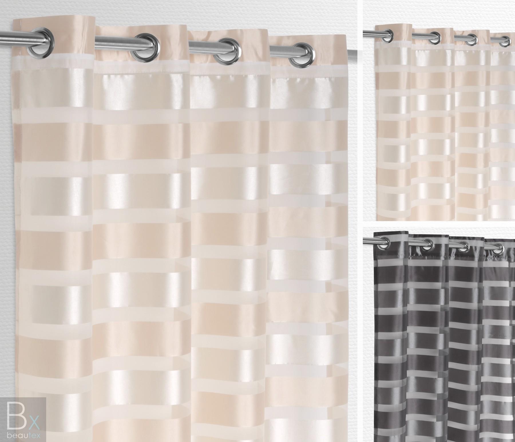 Gardinenschals Mit Ösen luftiger Ösenschal gestreift, leichte gardine mit Ösen 140x245 cm