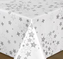 Wachstuch Tischdecke, Milano Top Qualität Meterware, glatt Sterne Weiß Silber, Länge wählbar – Bild 1