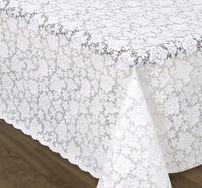 Tischdecke in Häkel Spitze Optik Rosen weiß, Meterware, Breite 140 cm Länge wählbar – Bild 1