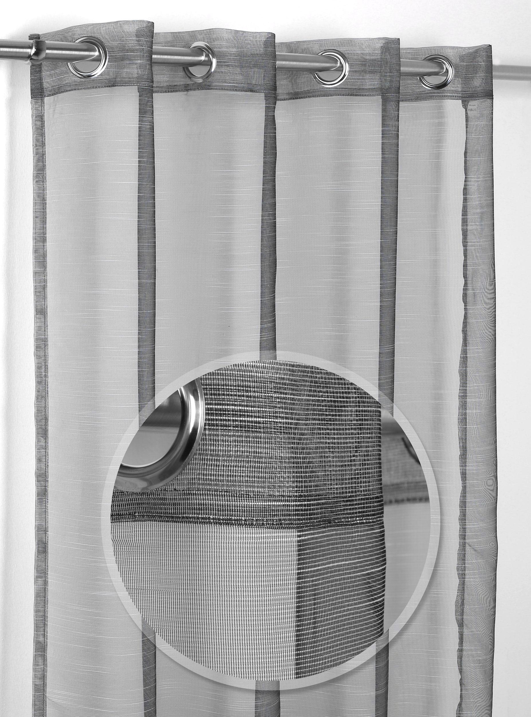 Luftiger Ösenschal Teiltransparent, Gardine mit Ösen 140x245 cm, Farbe  wählbar