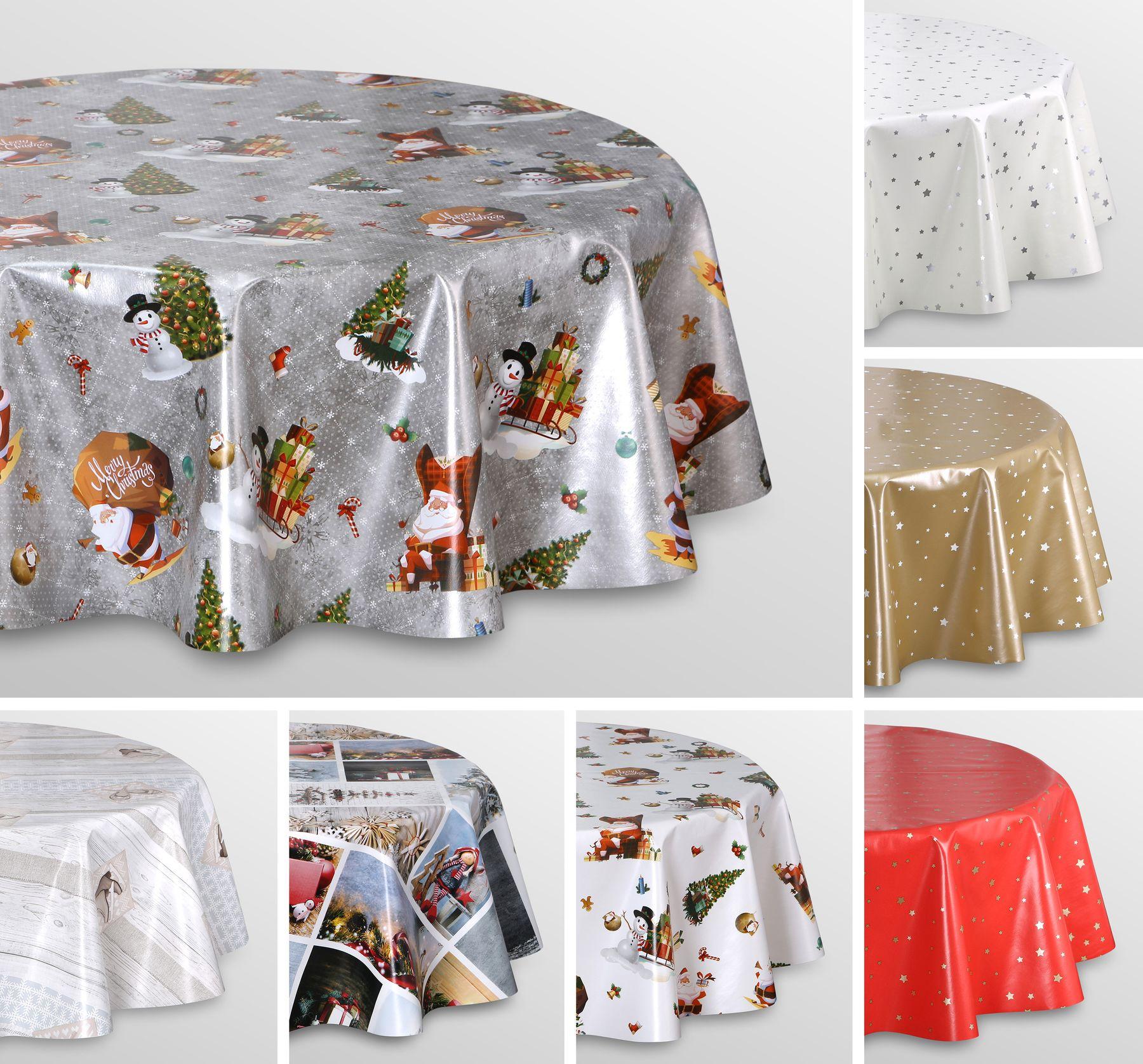 Wachstuch Tischdecke Weihnachten, OVAL RUND ECKIG, Motiv und Größe wählbar