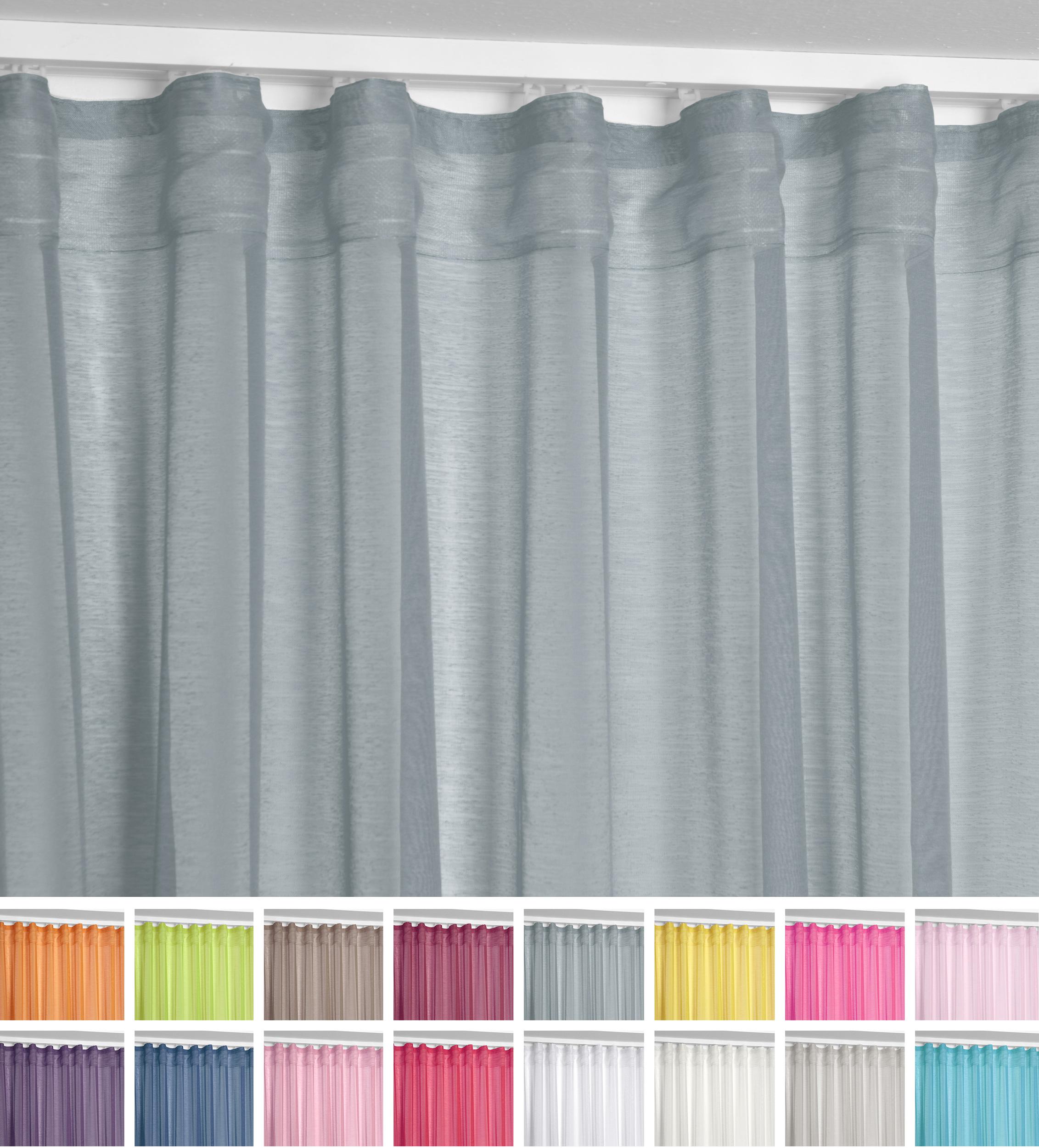 Beautex Vorhang Mit U Band 140x250 Cm Farbe Wählbar Transparente Kräuselband Gardine Dolly