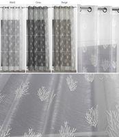 Beautex Vorhang mit Ösen 140x260 cm (Farbe Wählbar) transparente Gardine in Weiß mit Korallenstickerei, Corail – Bild 2