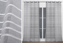 Ösenschal 135x245 cm lichtdurchlässig silber weiß, Ösen Gardine Vorhang, Leinen Gino – Bild 1