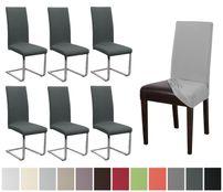 Beautex Stuhlhusse Jersey, 6er Set elastische Stretch Husse Baumwolle Bi-Elastic, Farbe wählbar – Bild 1