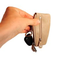 Branco - Key Wallet, Key Purse, Leather Key Case, Model-029 Beige