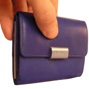Branco – Small wallet / purse size S for women made out of leather, royal blue, model 12032