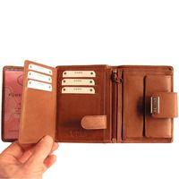 Branco – Große Geldbörse / Portemonnaie Größe L für Damen aus Leder, Braun, Modell 12050