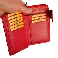 Branco - Leather, Ladies Wallet, Coin Wallet, Purse, Credit Card Holder, Model-22373, Red