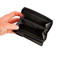 Branco – Große Geldbörse / Elegantes Portemonnaie Größe L für Damen aus Leder, Schwarz, Modell 22373