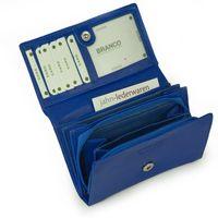 Branco – Große Geldbörse / Portemonnaie Größe L für Damen, aus Leder, Azur-Blau, Modell 265