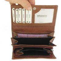 Branco – grand porte-monnaie pour femme / portefeuille taille L, en cuir, marron, modèle 265