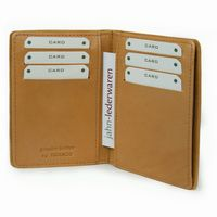 Branco - A7 Leather Credit Card Wallet with view window, Beige, Model 302