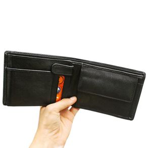 Hamosons - Leather Wallet, Bifold for men, Model-107 Black