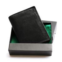 Hamosons – Large wallet / billfold size L for men, made out of leather, upright format, black, model 106