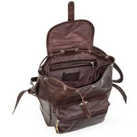 Hamosons – Medium sized leather backpack / city bag size M made out of oiled leather, chestnut brown, model 512