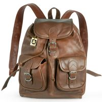 Hamosons – Medium sized leather backpack / city bag size M made out of oiled leather, chestnut brown, model 559