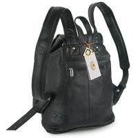 Hamosons – Medium sized leather backpack / city bag size M made out of nappa leather, black, model 559