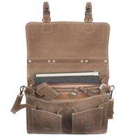 Hamosons – Klassische Aktentasche / Lehrertasche Größe L aus Büffel-Leder, Matt-Braun, Modell 600