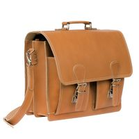 Hamosons – Classic briefcase / teacher bag size L made out of leather, cognac brown, model 600