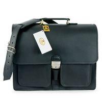 Hamosons – Klassische Aktentasche / Lehrertasche Größe L aus Leder, Schwarz, Modell 651