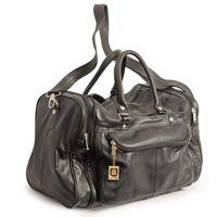 Hamosons – Mittel-Große Reisetasche / Weekender Größe M aus Nappa-Leder, Schwarz, Modell 696