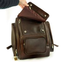 Jahn-Tasche – Sehr Großer Lederrucksack Größe XL / Laptop-Rucksack bis 15,6 Zoll, Braun, Modell 709