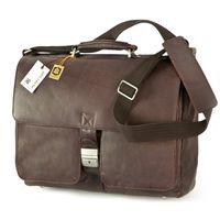 Jahn-Tasche – Elegante Aktentasche Größe L / Laptoptasche bis 15,6 Zoll, aus Nappa-Leder, Braun, Modell 750